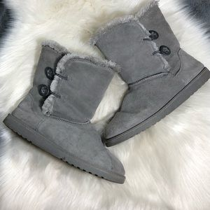 Target Grey Suede Faux Fur Lined Boots